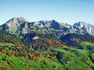 Autumn feeling on the pastures and meadows of Thur River Valley - Canton St. Gallen, Switzerland