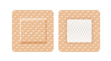Set of band-aid in shape of square isolated on white background