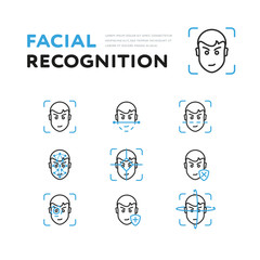 Set of icons showing scans of face for recognition isolated on white background