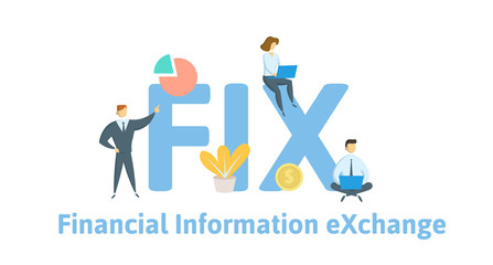 FIX, Financial Information Exchange. Concept with keywords, letters and icons. Colored flat vector illustration. Isolated on white background.