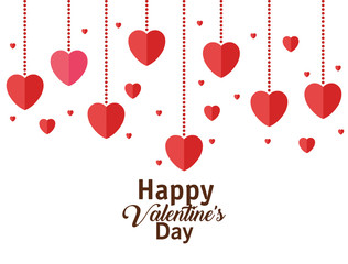 happy valentines day card with hearts hanging