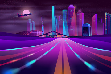 Vector empty road in modern megapolis at night. Morning mist on asphalt way in city, motion on highway. Full moon and flying plane.Urban skyscrapers in neon colors, town exterior, architecture concept