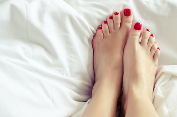 Female feet with a pedicure