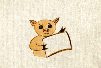 Yellow pig - a symbol of the Chinese New Year on canvas for cards and design. Watercolor drawing. Double exposure.