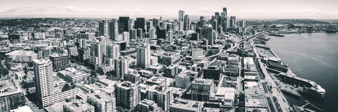 Black and White Seattle Waterfront Aerial Panorama