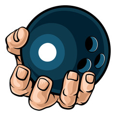A strong hand holding a bowling ball. Sports graphic