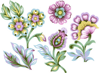 Set of paisley eastern elements Abstract flowers and leaves  colorful Bouquet on white background hand paint
