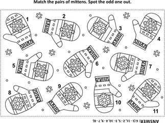 IQ training visual logic puzzle and coloring page with Santa's (or somebody's else) knitted mittens. Match the pairs. Spot the odd one out. Answer included.