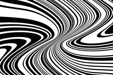 Optical art background. Wave design black and white
