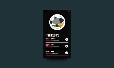Fish Dish Recipe App Vector Illustration