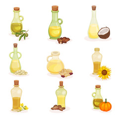 Flat vector set of glass bottles of different oils. Organic and healthy products. Natural cooking ingredients