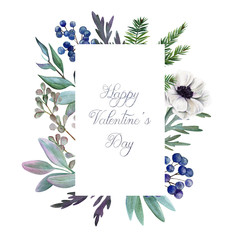 Greeting card with hand drawn watercolor floral elements.