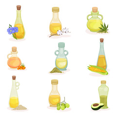 Flat vector set of glass bottles of different cooking oils. Fresh and natural products. 100 organic ingredients