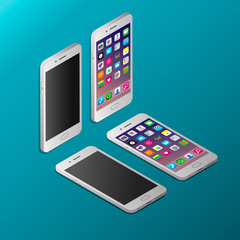 Realistic white smartphone in isometry vector illustration