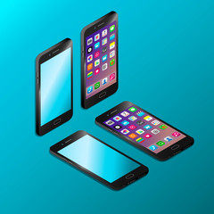 Realistic black smartphone in isometry vector illustration