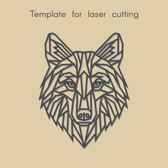 Template animal for laser cutting. Abstract geometric wolf for cut. Stencil for decorative panel of wood, metal, paper. Vector illustration.