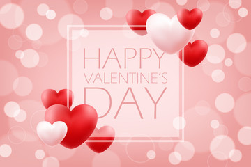 Happy Valentine's Day romantic background with red and pink hearts. 14 february holiday greetings. Vector Illustration.