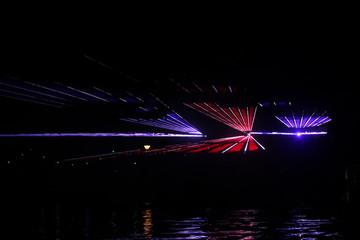 Colorful lasershow at the ring canal Zuidplaspolder during the Vlootschouw event in Nieuwerkerk aan den IJssel.