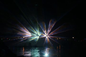 Colorful lasershow at the ring canal Zuidplaspolder during the Vlootschouw event in Nieuwerkerk aan den IJssel.