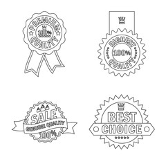 Vector design of emblem and badge sign. Collection of emblem and sticker vector icon for stock.