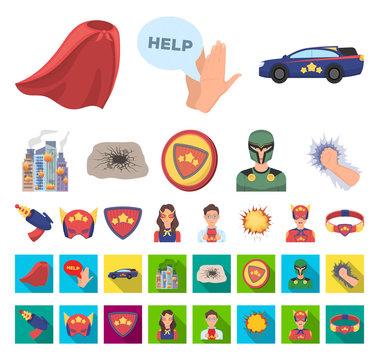 A fantastic superhero cartoon,flat icons in set collection for design. Superhero's equipment vector symbol stock web illustration.