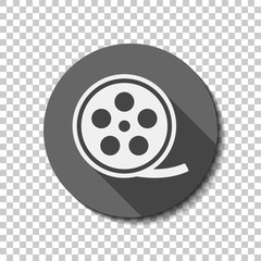 Film roll, old movie strip icon, cinema logo. flat icon, long shadow, circle, transparent grid. Badge or sticker style