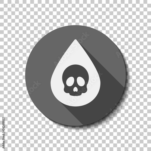 Drop of poison or acid with skull symbol  Icon of danger