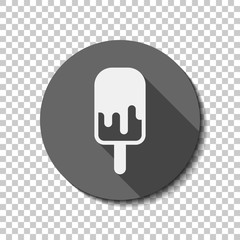 Ice lolly, eskimo on stick with chocolate, ice-cream. Simple icon. flat icon, long shadow, circle, transparent grid. Badge or sticker style