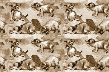 Pigs on the farm. Seamless pattern. Design print for textile, fabric, wallpaper, background. Can be used for printing on paper, in packaging. Oriental 2019 Horoscope for the Yellow Earth PIG Year.
