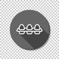 egg tray, linear outline icon. flat icon, long shadow, circle, transparent grid. Badge or sticker style