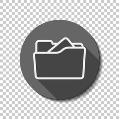 Folder of documents, portfolio with files, linear outline business icon. flat icon, long shadow, circle, transparent grid. Badge or sticker style