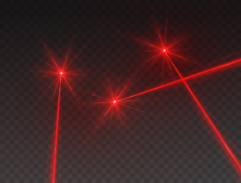 Laser beams isolated on transparent background. Abstract red lazer light rays with glow targets. Vector security or neon line effect for your design.