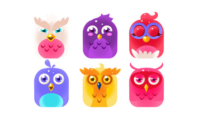 Fototapete - Cute funny birds set, colorful glossy birdies vector Illustration