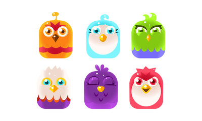 Fototapete - Cute birds, lovely colorful glossy birdies collection vector Illustration