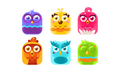 Fototapete - Collection of colorful glossy birds, lovely bright birdies vector Illustration