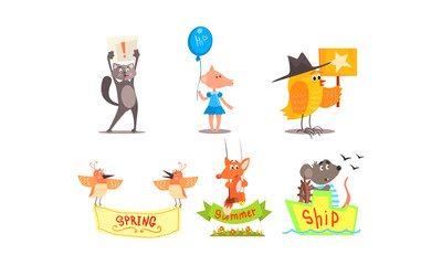 Cute humanized animals set, funny animals holding different signs vector Illustration