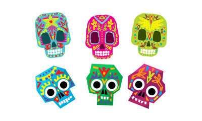Mexican sugar skulls set, Day of the dead colorful symbols vector Illustration