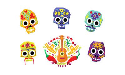 Mexican sugar skulls set, Day of the dead, Mexican cultural symbols vector Illustration