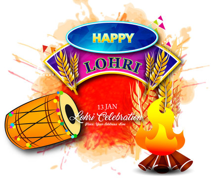 Punjabi festival of lohri celebrating with drum and bonfire  on beautiful abstract background with calligraphy.