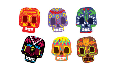 Mexican sugar skulls set, Day of the dead colorful symbols, Dia de los muertos vector Illustration