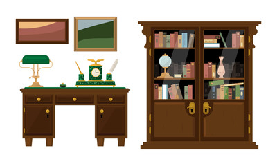 Retro abinet with workspace and wooden furniture, classic interior vector Illustration