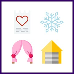 4 decor icon. Vector illustration decor set. snowflake and love letter icons for decor works