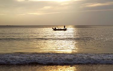 Silhouette Fishing Boat in Evening