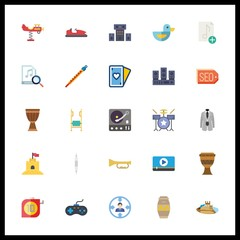 25 play icon. Vector illustration play set. drum set and drum icons for play works