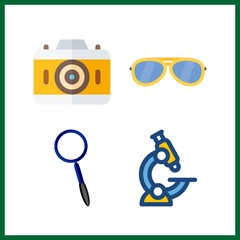 4 lens icon. Vector illustration lens set. magnifying glass and photo camera icons for lens works