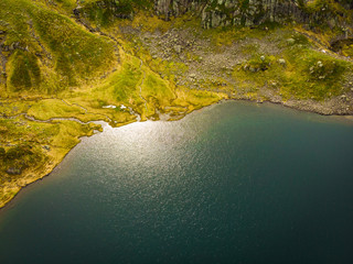 Aerial view. Lake in mountains Norway