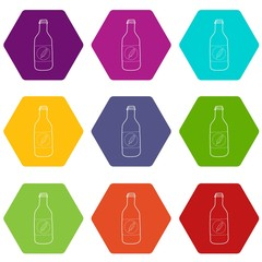 Bottle of cold water eco icons 9 set coloful isolated on white for web