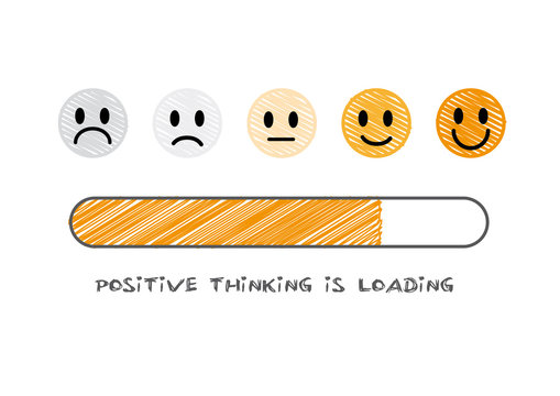 positive thinking is loading  - vector illustration