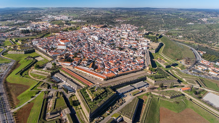 Aerial. Portuguese old town of Elvas on border with Spain was shot from sky.