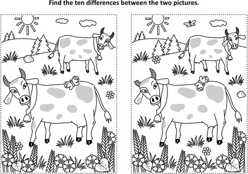 Find the ten differences picture puzzle and coloring page with spotted milk cows on the pasture